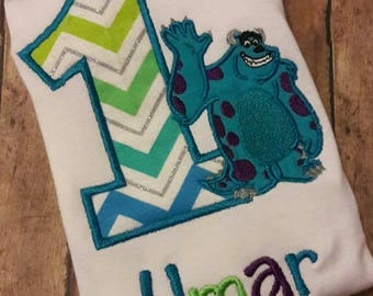 Monsters Inc Mike or Sully Embroidered Birthday Shirt Any Number **Fast Shipping**