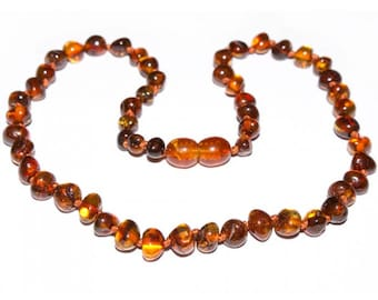 Genuine Baltic Amber Baby Teething Necklace Cognac baroque beads
