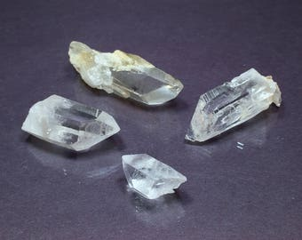 4 Rough CLEAR QUARTZ Crystal Points - Raw Natural Minerals - Healing Crystals - Crystal Grid Stones- Collecting Specimens- From Arkansas 51g