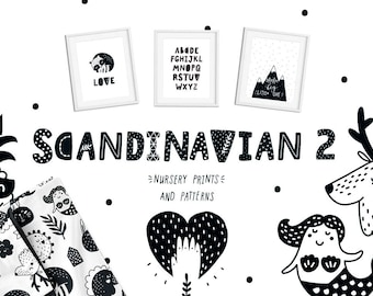 Nursery printable art Wall decor Digital paper Alphabet Unicorn Animals Scandinavian style Minimalist art Nursery decor Instant download