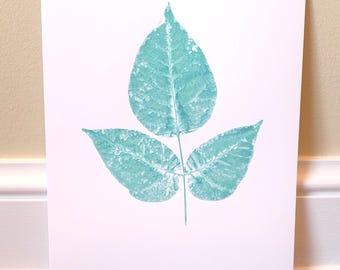 Light Teal 2 Leaf Print