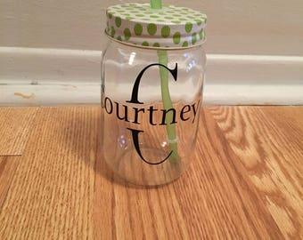 Personalized mason jar with straw