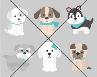 dogs puppies puppy pug poodle terrier animals pets - Precious Pupplies Digital Clipart