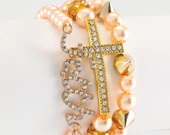 Gold, faith, cross, 3 stack Glam bracelet