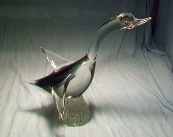 Murano Large Art Glass Duck In Flight Smoke