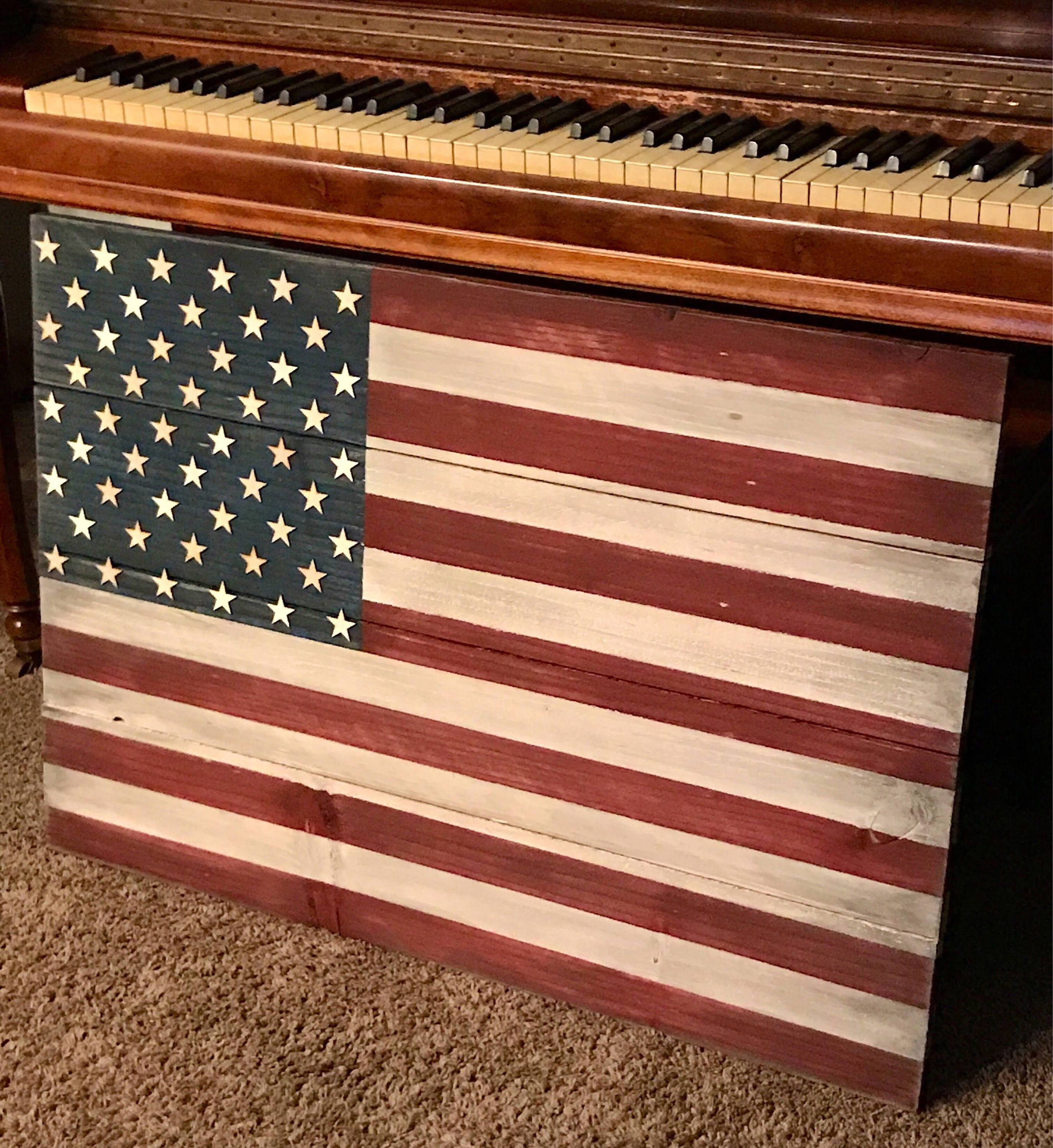 rustic wood american flag wall hanging for indoor or. Black Bedroom Furniture Sets. Home Design Ideas