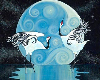 Dancing in the Moonlight- Fine Art Original Acrylic Painting of Cranes in front of moon on Glicee Print Canvas