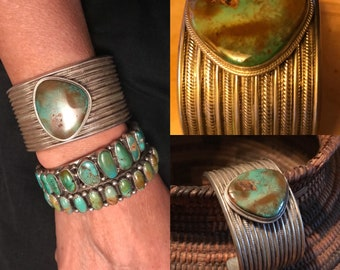 Vintage Turquoise Bracelet, Native American Jewelry, Old Pawn, Navajo Bracelet, Green Turquoise Bracelet, Cuff Bracelet, Southwest Jewelry