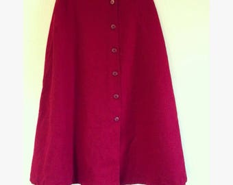 Red wool button down Skirt