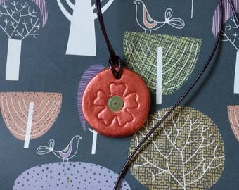 Copper painted, clay necklace/pendant