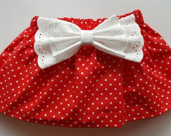 Cotton red polka dots baby skirt with diaper cover with removable cotton lace bow – toddler skirted bloomers – skirt nappy cover