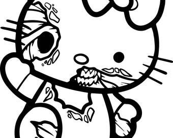 Hello Kitty Zombie Vinyl Decal~Halloween~