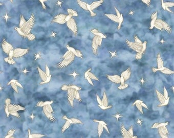 Quilting Treasures Heavenly Doves in Chambray Blue Print Cotton Fabric