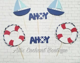 Ahoy Cupcake Toppers Birthday Boy Bachelor Party Wedding Bride Groom Party Boat Cupcakes