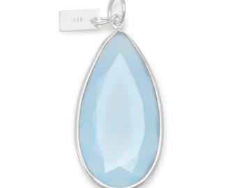 Blue Chalcedony Pear Shape Pendant