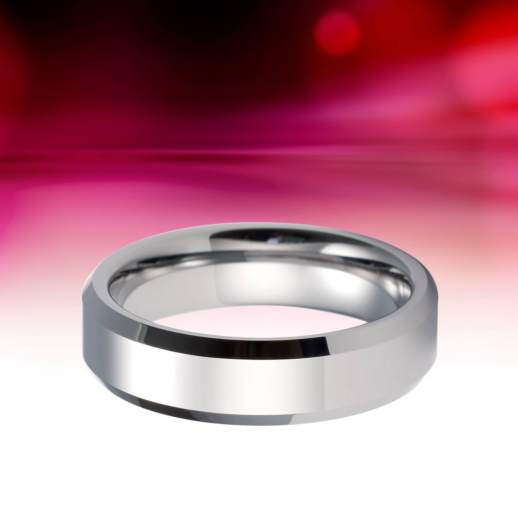 Tungsten Ring Silver Wedding Band 6mm Tungsten Carbide Mens Wedding ...