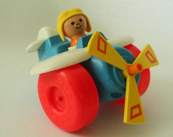 Fisher Price #171 Pull-Along Plane, 1981-1989, Vintage FP Toy, Airplane