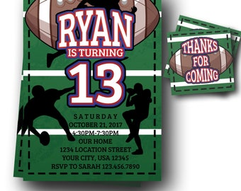 Football Birhtday Invitation - Football Invitation - Teen Boys Invites - ANY AGE - FREE thank you cards - Digital Download