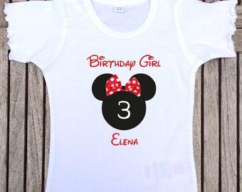 "Birthdayshirt ""Minnie mouse"" for girls, Red"