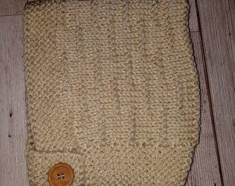 Cute Hand Knitted Pixie Bonnet 6-12 Natural