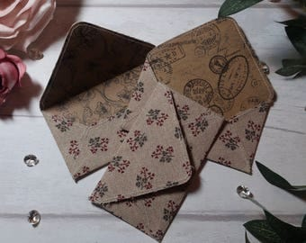 Brown Floral Fabric Envelope