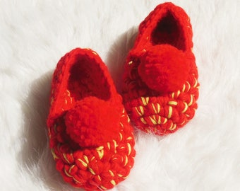 Red crochet Girls' slippers | Toddlers Crochet shoes | Childs house slippers with POM POMS | Birthday GIFT | Non slip slippers