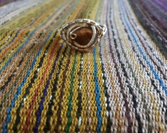 Silver wire wrapped tiger eye ring