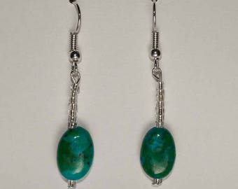 Turquoise Colored Bead Earrings