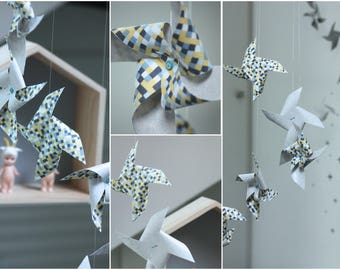 "Mobile 6 pinwheels wind fabric & paper blue, yellow pattern ""mosaic"""