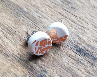 White and Rose Gold Leaf Accent Post Earrings