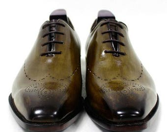 Oxford shoes, Handmade Men Shoes, mens shoes, dress shoes, wedding shoes, casual shoes for men, green, leather shoes, patina