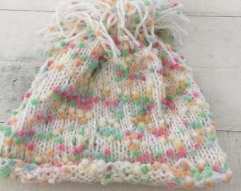 Hand Knit Baby/Toddler Hat, White, Beanie, Pom Pom