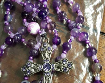 Purple Glass Beaded Rosary