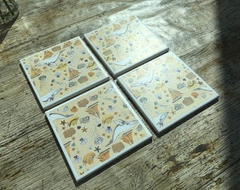 Set of Four Explorer Themed Ceramic Coasters
