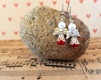 Angel earrings-red and silver