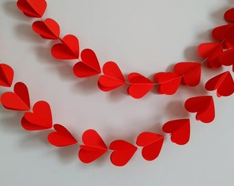 Red Heart Garland, Wedding Backdrop, Red Wedding Decoration, Engagement Decoration, Bridal Shower, Wedding Bunting, Hen Party Decor.