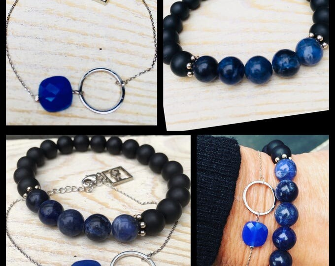 Free shipping within en bracelet of 2 bracelets bracelet natural stone gemstone Lapis Lazuli Onyx Black