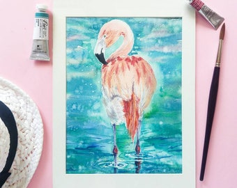 Original watercolor pink flamingo watercolour painting