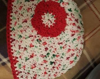 Lollie's flower beenie  Christmas colors.