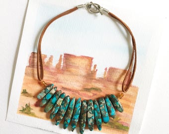 Jasper bib choker necklace, Leather necklace, Bib necklace, Boho jewelry, Choker, Adjustable necklace, Gemstone necklace, Choker