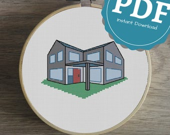 House with Red Door, Cross Stitch Pattern, Instant Download, Beginners Pattern, 3D, House, Home, Modern, Starters, Cross Stitch, Red Door