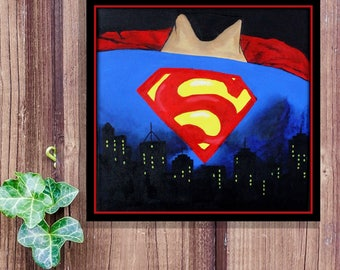 Superman Acrylic Painting, Hand painted Wall decor, kids room decor, Superman DC wall decorations,