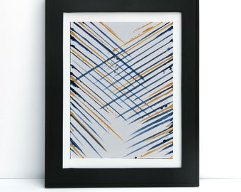 8x10 blue and yellow modern contemporary wall art print