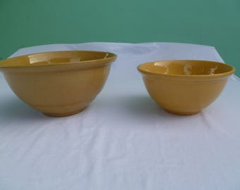victorian yellow ware mixing bowl set