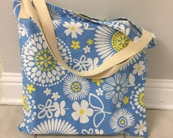 Blue and Yellow Floral Beach Bag