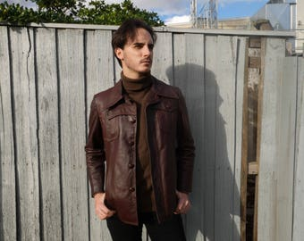 VINTAGE - 1970's Brown Leather Jacket