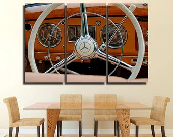 Mercedes speedometer canvas Old car vintage Super Car Racing Car Sport car Monster Machine  Red car print
