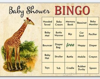 jungle baby shower bingo, 60 jungle Baby Shower Bingo Cards - giraffe baby shower Bingo Card , Printable Blank Bingo Cards & PreFilled Cards