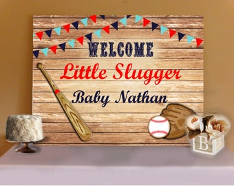 BASEBALL BABY SHOWER- Little Slugger Baby Shower Cake, Sweets or Buffet Table Backdrop