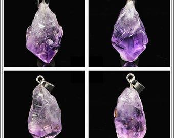 Genuine Light Purple Amethyst Crystal Geode Loose Pendant Mateiral Beads - DY00269